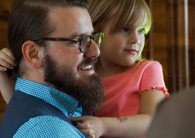 Florian mit Tochter Lisa bei der Eröffnungsrede